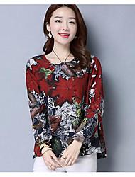 Dames Eenvoudig T-shirt,Uitgaan Bloemen Ronde hals Lange mouw Polyester