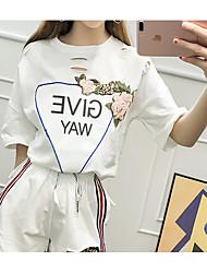 Mujer Chic de Calle Noche T-Shirt Pantalón Trajes,Escote Redondo Un Color Estampado