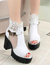 Damen Sandalen Komfort PU Frühling Lässig Weiß Schwarz Rot 5 - 7 cm