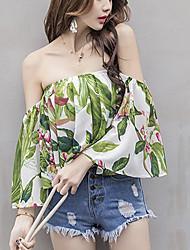 Tee-shirt Femme,Imprimé Sortie Plage Sexy Printemps Eté Sans Manches Bateau Coton Opaque
