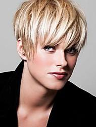 Femme Court Blond Fraise / Blond Platine Raide Coupe de cheveux en couches Cheveux Synthétiques Dentelle complettePerruque Naturelle