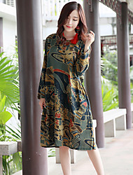 Women's Holiday Loose Dress,Print Round Neck Maxi Long Sleeve Linen Summer Mid Rise Inelastic Medium