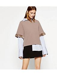 Women's Casual/Daily Sweatshirt Solid Round Neck Micro-elastic Faux Fur 3/4 Length Sleeve