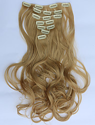 7pcs/Set 130g Golden Blonde Wavy 50cm Hair Extension Clip In Synthetic Hair Extensions