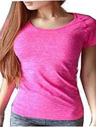 Mulheres Camiseta de Corrida Manga Curta Secagem Rápida Confortável Camiseta Blusas para Correr Ioga Pesca Exercício e Atividade Física