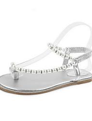 Damen-Sandalen-Lässig-PUKomfort-Weiß Silber