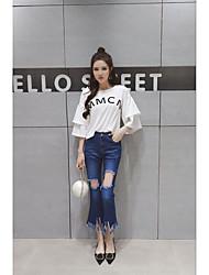 Damen einfarbig Einfach Arbeit Shirt Rock Anzüge,Hemdkragen Sommer ½ Ärmellänge Baumwolle