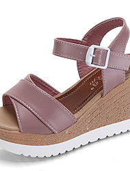 Women's Sandals Comfort PU Summer Casual Walking Comfort Magic Tape Wedge Heel Black Beige Blushing Pink 3in-3 3/4in