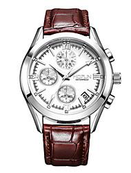 Masculino Relógio de Moda Chinês Quartzo Couro Banda Preta Branco Marrom