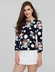 Women's Print Blue  White Blouse , Round Neck Long Sleeve