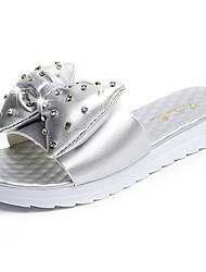 Women's Sandals Comfort PU Spring Summer Dress Casual Rhinestone Bowknot Flat Heel White Sliver Flat