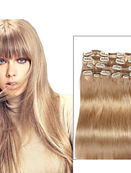 9pcs / set deluxe 120g # 18 beige blonde Clip in Haarverlängerungen 16inch 100% gerade menschliches Haar 20inch