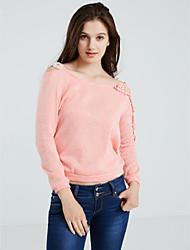 Damen Solide Einfach Lässig/Alltäglich T-shirt,Asymmetrisch Frühling Langarm Blau / Rosa / Schwarz Baumwolle Mittel