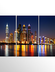 Canvas Print Landscape Modern City NightThree Panels Canvas Horizontal Print Wall Decor For Home Decoration
