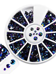 1pcs mode mélangé brillant résine gelée rhinestone décoration ongle art rond disque brillant coloré laser rayon rhinestone diy beauté