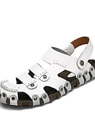 Herren-Sandalen-Outddor Lässig-Leder-Flacher Absatz-Komfort Leuchtende Sohlen-Weiß Schwarz Braun