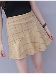 Women's High Rise Above Knee Skirts A Line Color Block