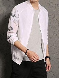 Men's Going out Beach Simple Spring Summer Jacket,Print Stand Long Sleeve Regular Cotton Polyester