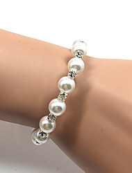 Women's Cuff Bracelet Tennis Bracelet Imitation Pearl Fashion Pearl Rhinestone Circle White Jewelry ForWedding Party Special Occasion