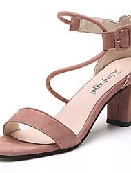 Women's Sandals Comfort Suede Summer Casual Walking Comfort Hook & Loop Block Heel Black Blushing Pink Almond 3in-3 3/4in