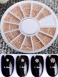 1 Box 0.8/1/1.2/1.5mm Mixed Steel Beads 3D Nail Decoration Fashion Manicure Nail Art DecorationBack