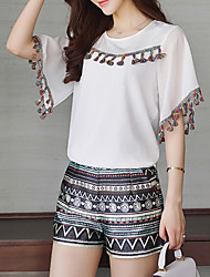 Women's Going out Casual/Daily Simple Boho Summer Blouse,Solid Round Neck Short Sleeve Silk Opaque