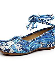 Femme-Extérieure Bureau & Travail Habillé Décontracté Sport--Talon Plat-Confort Nouveauté Chaussures brodées-Oxfords-Toile