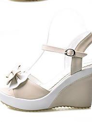 Damen-Sandalen-Lässig-PU-Keilabsatz-Komfort-Mandelfarben