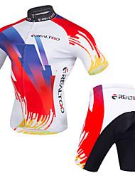 Realtoo Maillot et Cuissard de Cyclisme Homme Manches Courtes Vélo Design Anatomique Zip frontal Respirable Matériaux Légers La peau 3