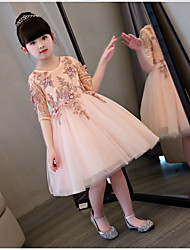 BONJEAN Ball Gown Knee-length Flower Girl Dress - Organza Jewel with Appliques Flower(s) Lace