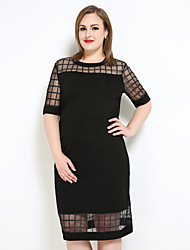 Really Love Women's Plus Size Casual/Daily Party Sexy Simple Cute Shift T Shirt Dress,Check Round Neck Midi ½ Length Sleeve Polyester Spring Summer