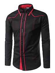 Для мужчин На каждый день Праздник На выход Весна Осень Рубашка Классический воротник,Простое Активный Контрастных цветов ПэчворкДлинный