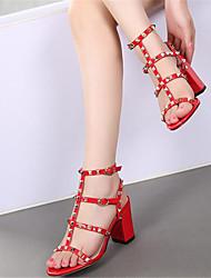 Damen-High Heels-Lässig-PU-Keilabsatz-Komfort-Weiß Schwarz Rot