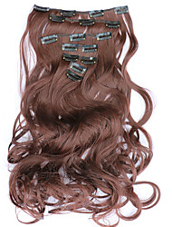7pcs/Set 130g  Dark Auburn Wavy 50cm Hair Extension Clip In Synthetic Hair Extensions