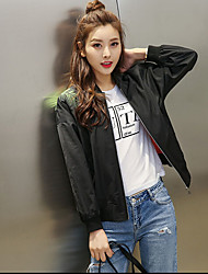 Women's Casual/Daily Simple Fall Leather Jacket,Solid Round Neck Long Sleeve Short Cotton