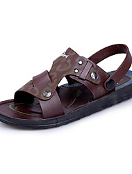 Masculino-Sandálias-Conforto-Rasteiro-Azul Escuro Castanho Escuro-Couro-Casual