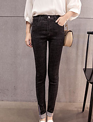 Damen Einfach Hohe Hüfthöhe Jeans Skinny Hose einfarbig