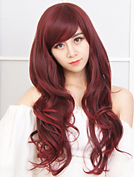 New Arrival Red Color Long Wave Women Wigs Heat Resisting Syntheitc Wigs