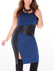 Women's Plus Size Casual/Daily Club Sexy Simple Street chic Bodycon DressPatchwork PU Split Over Hip Round Neck Knee-length Sleeveless Spring