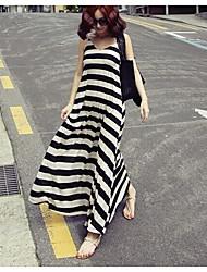 Damen Hülle Kleid-Lässig/Alltäglich Gestreift Gurt Maxi Ärmellos Seide Sommer Mittlere Hüfthöhe Mikro-elastisch Dünn