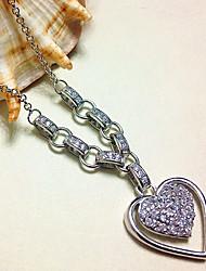 Жен. Ожерелья с подвесками Стерлинговое серебро Циркон Платиновое покрытие Уникальный дизайн В виде подвески Сердце Бижутерия ДляДень