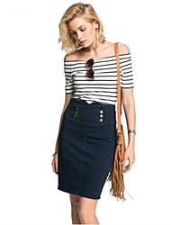 Tee-shirt Femme,Rayé Sortie simple Eté Manches ¾ Bateau Coton Acrylique Opaque