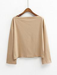 Tee-shirt Femme,Couleur Pleine Décontracté / Quotidien simple Printemps Eté Manches Longues Col Arrondi Coton Fin