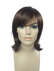 High Quality Short Wig Brown Synthetic Fiber Side Part Bangs Bob Wig Hairstyle