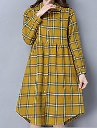 Women's Going out A Line Dress,Striped Shirt Collar Knee-length Long Sleeve Polyester Spring Summer Mid Rise Micro-elastic Thin