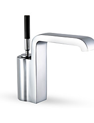 Contemporary Art Deco/Retro Modern Vessel Waterfall with  Ceramic Valve Single Handle One Hole for  Chrome  Bathroom Sink Faucets