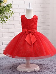 A-line Knee-length Flower Girl Dress - Lace Tulle Satin Chiffon Jewel with Bow(s) Flower(s) Lace Pleats