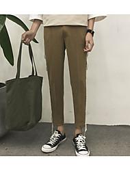 Mujer Sencillo Tiro Medio Microelástico Chinos Pantalones,Delgado A Rayas