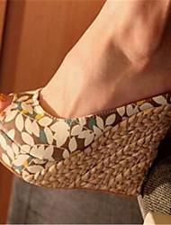 Damen-Sandalen-Lässig-PU-Keilabsatz-Mary Jane-Mandelfarben