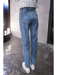 Women's Mid Rise Inelastic Jeans Pants,Simple Harem Solid